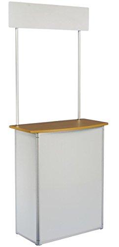 displays2go Trade Show de promoción Mostrador con cabecera y bolsa de transporte, color blanco plástico corrugado con marco...