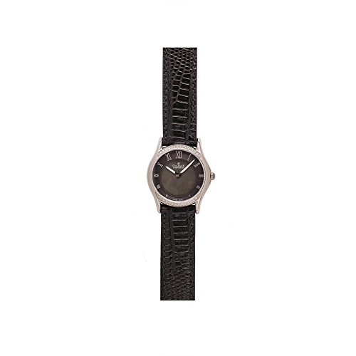 Charmex Cannes 6332 30mm Stainless Steel Case Black Calfskin Synthetic Sapphire Women's Watch