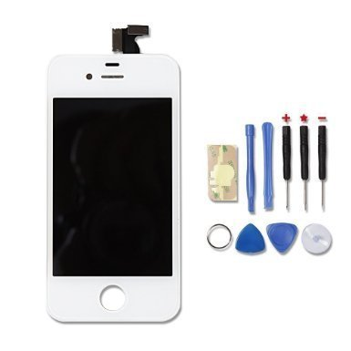 TOTO® Replacement Digitizer and Touch Screen LCD Assembly for White Apple iPhone 4S (for AT&T/Verizon/Sprint iPhone 4S) + 7 Piece Tools Included