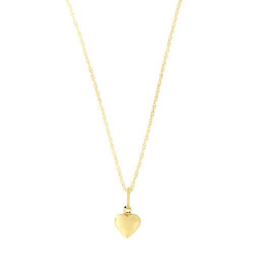 14k Yellow Gold Tiny Puffed Heart Pendant Necklace - 16