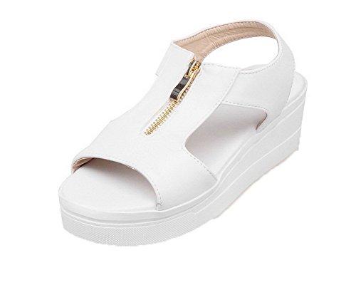 PU Ouverture Femme Blanc Sandales GMBLB014842 d'orteil Unie Zip Cuir AgooLar Couleur Ufqw5pW1