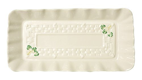 Belleek Group 1317 Shamrock Tray, 12.6-Inch, White