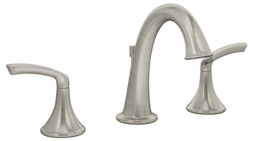 Widespread 2 Handle - Symmons SLW-5512-STN Elm Widespread 2-Handle Bathroom Faucet with Drain Assembly in Satin Nickel (2.2 GPM)