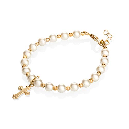 Christening 14KT Gold-Filled Beads with Cream Swarovski Simulated Pearls and Cross Charm Luxury Unisex Baby Bracelet (BGC_M)
