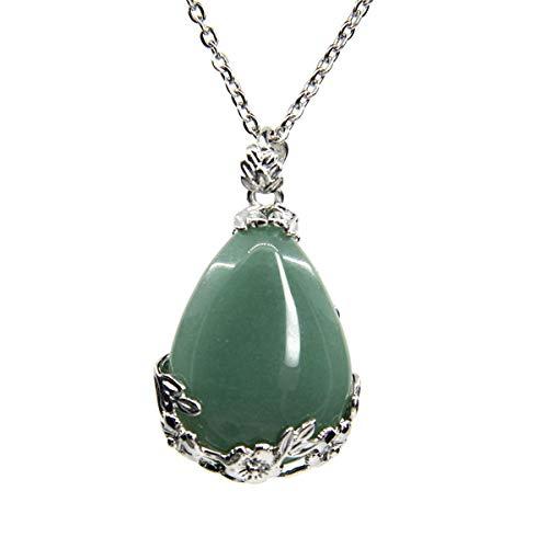 - Genuine Natural Green Aventurine Gemstone Droplets Reiki Chakra Pendant Stainless Steel Chains Necklace 18