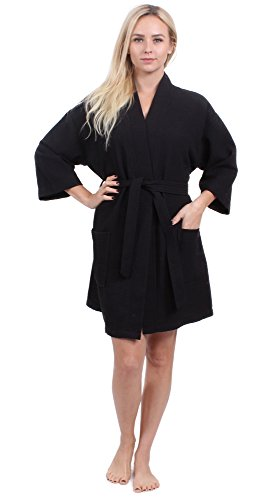 Turkuoise Women's Turkish Cotton Knee Length Lightweight Bridesmaids Waffle Kimono Robe Black XXL (Jersey Kimono)