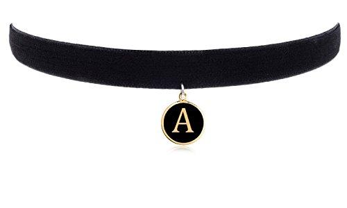 Letter Pendant Velvet Choker Necklace