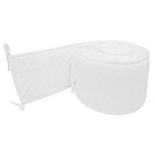 4 PCS Baby Breathable Crib Bumper Pads for Standard Cribs,Soft & Bulge Touch,Machine Washable Padding Protector for Boys & Girls White ()