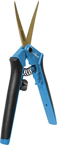 Hydrofarm HGPL400CT Precision Curved Lightweight Titanium Pruner, Blue