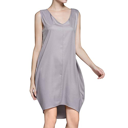 Hot!Woman's V-Neck Solid Color Vacation Dress Ninasill Sleeveless Cotton and Linen Dress Casual Elegant Short Skirt Gray by Ninasill Dress (Image #3)