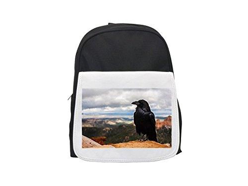 Mochila para niños con estampado de la naturaleza, diseño de corona, Raven, pájaros, negro, animales, lindas mochilas pequeñas, linda mochila negra, mochila ...