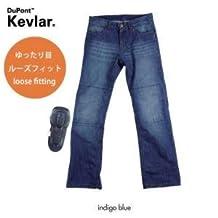 Komine KOMINE PK-715 loose Kevlar protection denim Kevlar with reinforced with knee pad jeans indigo blue 4XLB (44inch) 07-715 IB / 4XLB