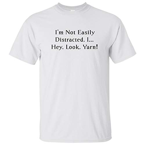 - I'm not Easily-Distracted-I Hey-Look-Yarn Shirt-Crochet Gift for Crocheters (White - M)