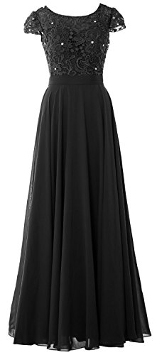 MACloth Women Cap Sleeve Mother of Bride Dress Vintage Lace Evening Formal Gown Negro