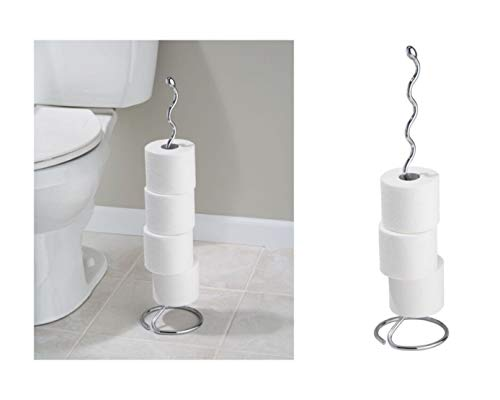 iDesign Orbinni Metal Toilet Tissue Roll Reserve for Bathroom, Compact Squiggle Organizer Caddy, Holds 4 Rolls of Paper, Chrome