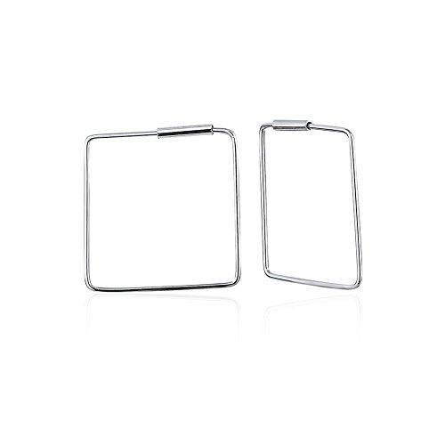 925 Sterling Silver Open Square Thin Line (.5mm) Modern Geometric Minimalist Endless Hoop Earrings