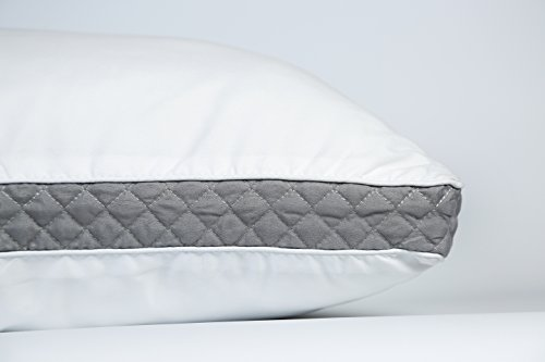 Lux Decor Collection Gusseted Quilted Bed Pillow - Set of 2 Premium Quality Bed Pillows for Side and Back Sleepers (Queen, Grey Gussets)