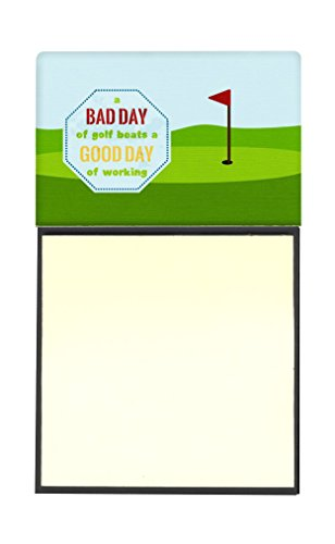 Golf Notepad (Caroline's Treasures A Bad Day at Golf Refillable Sticky Note Holder or Postit Note Dispenser, 3.25 by 5.5