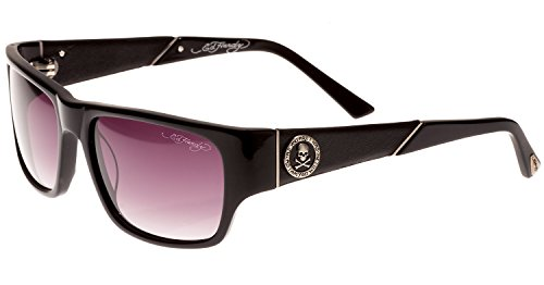 Ed Hardy Black Leather - Ed Hardy Skull & Crossbones Gradient 56 17 135 Sunglasses, Black Grey