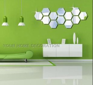 High Quality ColorfulHall Acrylic Mirror 3d Wall Decals 12 Pcs Hexagon DIY Mirror Wall  Stickers