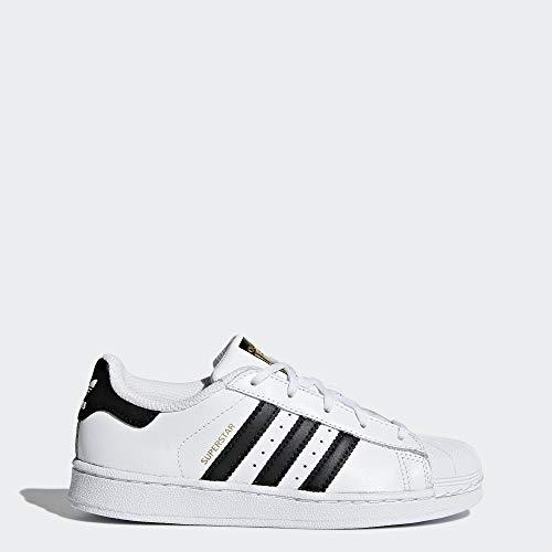 adidas Kids Superstar Foundation EL C Sneaker, White/Black/White, 2 M US Little Kid