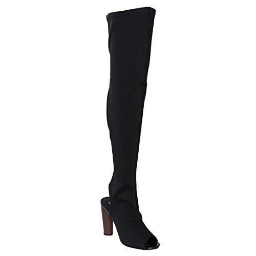 Stacked Toe Robbin Big Half Size 1 Cape Women's The Boots Black Peep Connie Knee Over Heel fAn1wz8