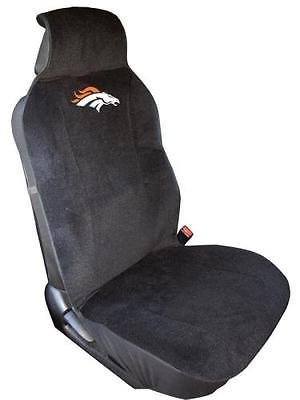 DH 18 X 4 X 5 Inches NFL Broncos Seat Cover, Football Themed Embroidered Logo For Bucket Seat Backing, Team Logo Fan Merchandise Athletic Team Spirit Fan, Orange White Black, Polyester Velour by DH