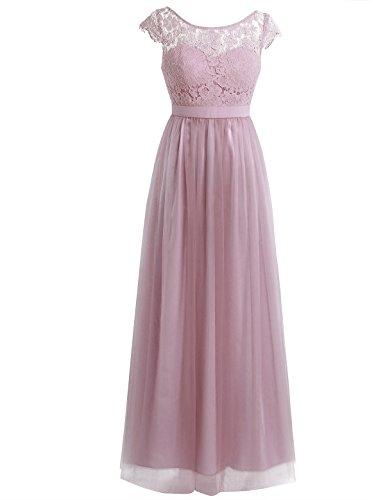 Lace Wedding Bridesmaid Formal Gown Prom Party Maxi Dress (4, Lace Tulle Dusty Rose) ()