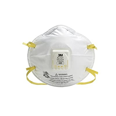 3M 50051131497110 8210V Particulate Respirator, N95 with Cool Flow Valve (Pack of 10)
