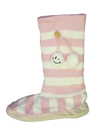 Joe Boxer Womens Roze & Witte Streep Boot Stijl Slouch Slippers Booties
