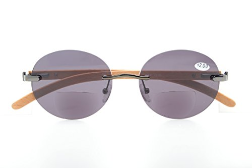 (Spring Hinges Wood Arms Rimless Round Bifocal Sunglasses)