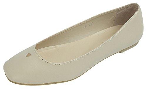 Womens Ladies Square toe Heart Cutout Ballet Flat Shoes Beige qvOPyYN
