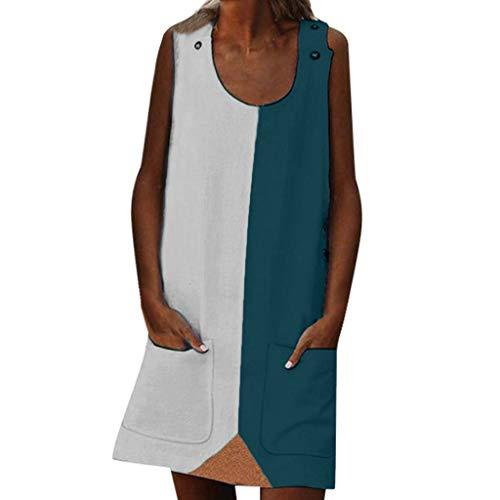 - WEISUN Women O Neck Dress Fashion Summer Street Leisure Sleeveless Spliced Large Size Dress with Pocket White