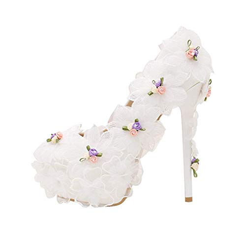 A Uk Dimensione White Spillo Con Donna Heel 14cm colore 8 Da Qiusa E Alto Tacco Heel Fiori 5ZOwxvvA