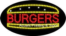 Burgers Flashing & Animated LED Sign (High Impact, Energy Efficient)