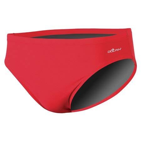(Dolfin Men's Solid Team Racer Swim Suit Red 28)