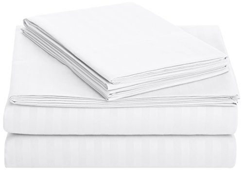 AmazonBasics Deluxe Microfiber Striped Sheet Set, Bright Whi