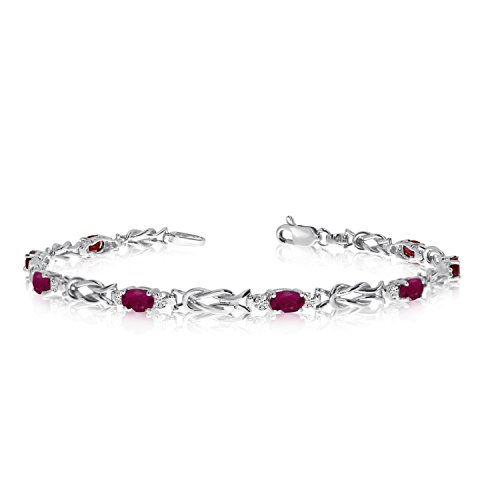 14K White Gold Oval Ruby and Diamond Bracelet (7 Inch Length)