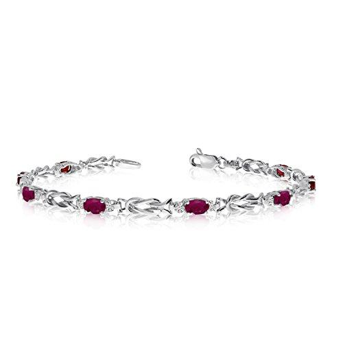 2.80 Carat (ctw) 14K White Gold Oval Red Ruby and Diamond Interlocked Tennis Bracelet - 7