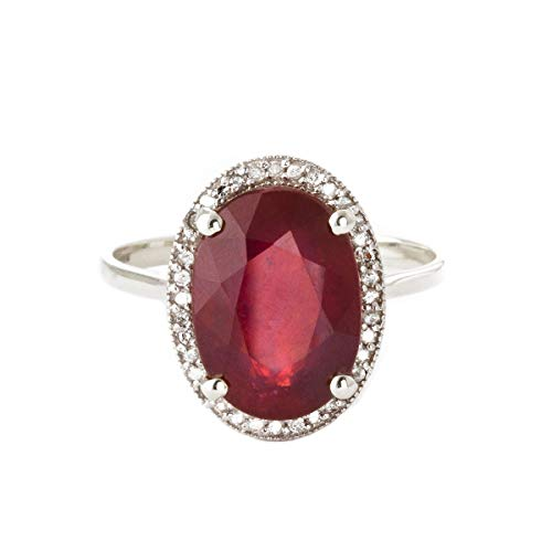 Galaxy Gold7.93 Carat 14k Solid White Gold Ring with Natural Oval-Shaped Ruby and Genuine Diamonds - Size 11