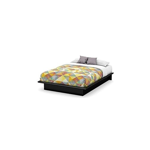 Basic Collection Platform Bed with Moulding - Queen Size - Black - Contemporary Design -  by South Shore (Platform Bed And Mattress Set)