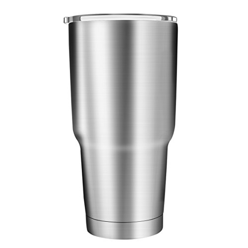 Stainless Steel Tumbler Coffee Travel Mug GUYUCOM 34oz Double Wall Insulated Vacuum Cup with Spill Proof Lid Great for Ice Drink and Hot Beverage, Milk by GUYUCOM