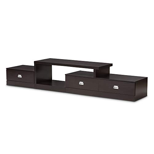 Baxton Studio Marconi Brown Asymmetrical Modern TV Stand (Ps3 Stand Tv)
