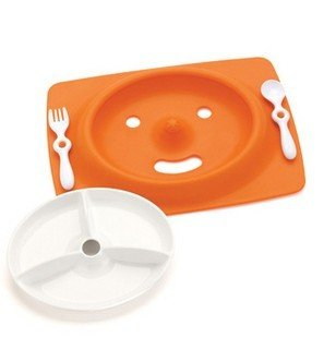 - Xing Lin Children'S Cutlery Set Antiskid Children Smiling Face Plate Baby Tableware Suit Can Be Microwave,Orange