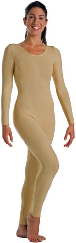 Body Wrappers 217 Unisex Adult Long Sleeve Footless Full Body Unitard Nylon (X-LARGE ADULT, NUDE)
