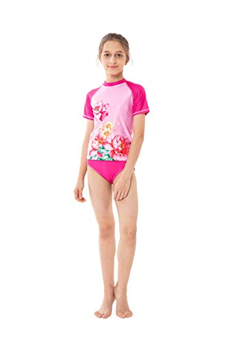 ShinyLuck Girls' Pretty Print 2-Piece Swimsuit (Short Sleeve 01, 10/12 Y)