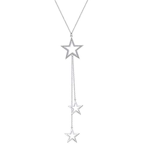 Long Chain Necklace S925 Sterling Silver Stars Pendant for Girl Women Girl 30'' Chain