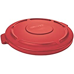 1 of box partners rubbermaid brute hdpe lid for round waste container 32gallon red rub121l