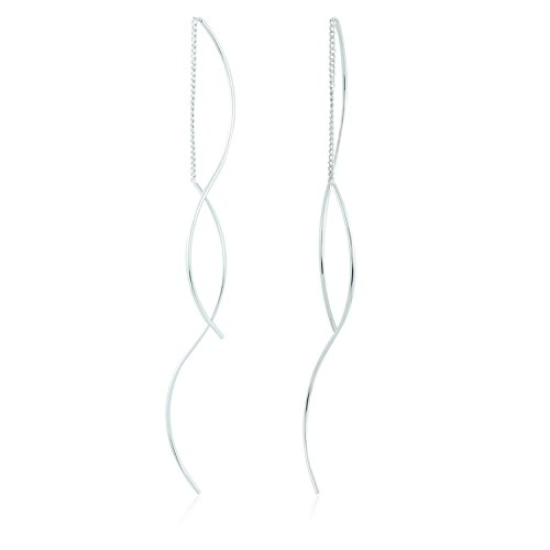 Wave Chain Bended Twisted Linear Chain Threader Drop Dangle Earrings by Lovey Lovey (Silver)