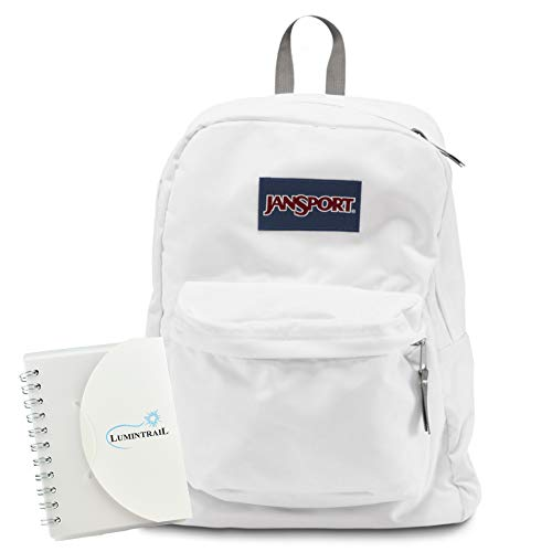JanSport Superbreak Backpack Lightweight 25L Everyday Pack Bundle with a Lumintrail Memo Pad White